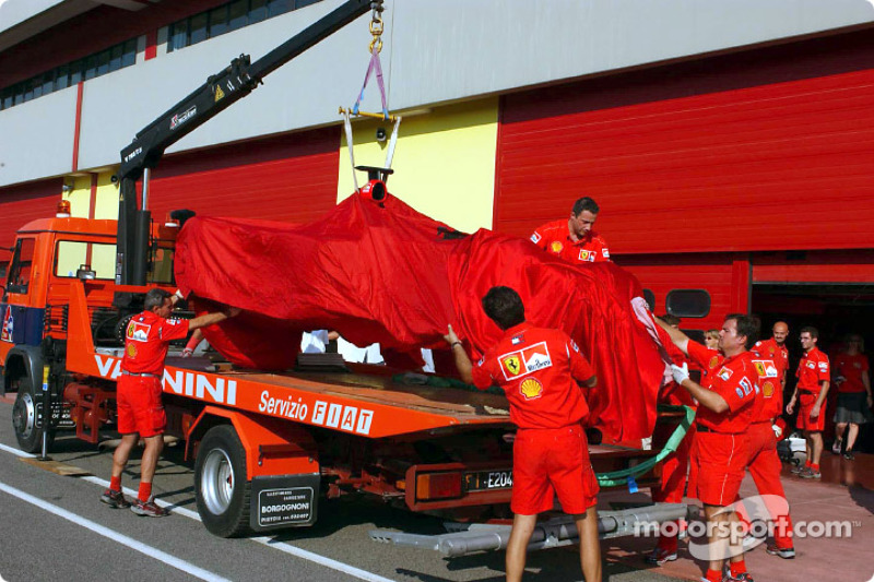 The Ferrari after Michael Schumacher's accident