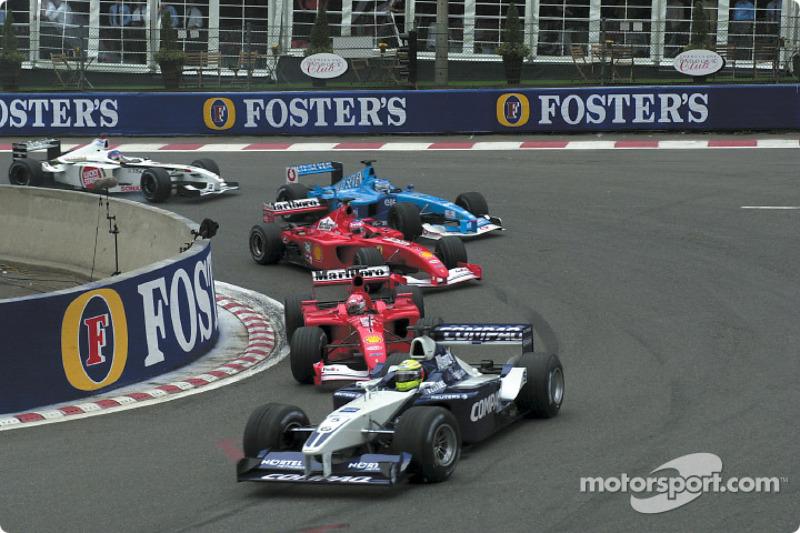 First start: Ralf Schumacher leading Michael Schumacher, Rubens Barrichello, Giancarlo Fisichella an