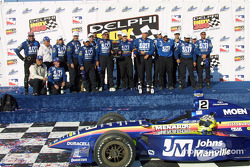 Jaques Lazier celebrating victory with Team Menards