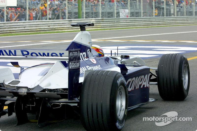 Juan Pablo Montoya at pit exit