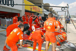 Practicing pitstop at Ferrari