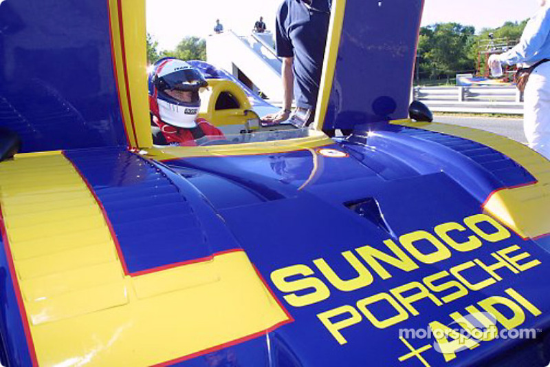 Roger Penske positions himself in the #6 Sunoco Porsche 917/30 - originally entered in the Can-Am series by Penske for Mark Donahue - as he prepares to take exhibition laps