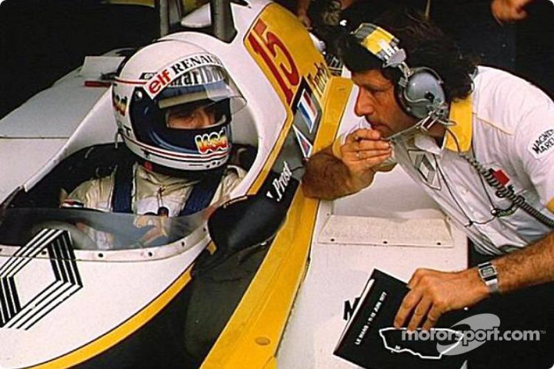 Alain Prost en Bernard Dudot tijdens een testsessie