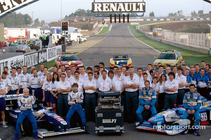 Williams and Benetton teams celebrating Renault's six world championship titles: Jacques ...