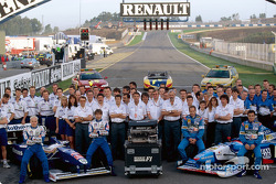 Williams and Benetton teams celebrating Renault's six world championship titles: Jacques Villeneuve, Heinz-Harald Frentzen, Gerhard Berger and Jean Alesi