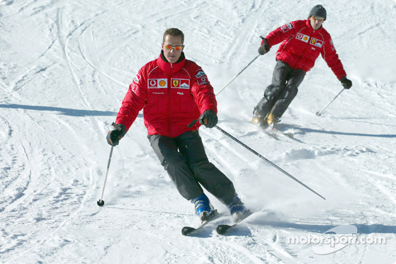 Michael Schumacher and Luca Badoer on skis