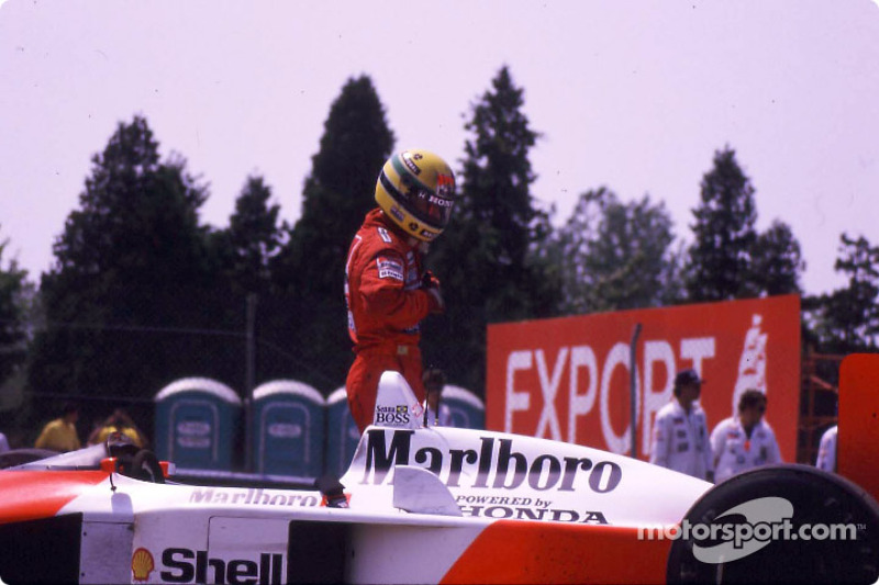 After the race: Ayrton Senna