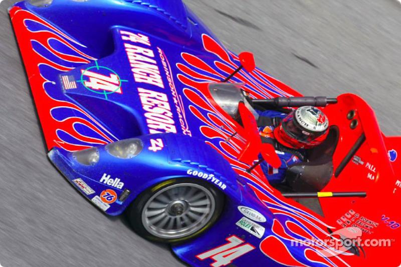 The #74 Judd Riley & Scott speeds through Daytona's East banking