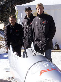 Le Mans winners Tom Kristensen, Emanuele Pirro and Frank Biela dared riding on ice in the Audi bobsled down the Olympic bob run in St. Moritz