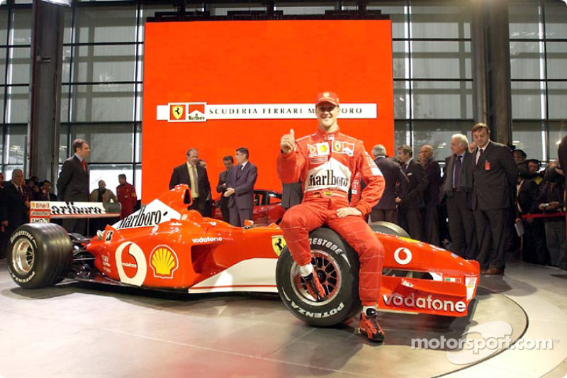 Michael Schumacher with the new Ferrari F2002