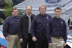 Robert Yates poses with his new driver Kasey Kahne at Daytona; Yates and Kahne are joined in the launch by Bill DeArment CEO of Channellock and Dan Davis, Director of Ford Racing Technology