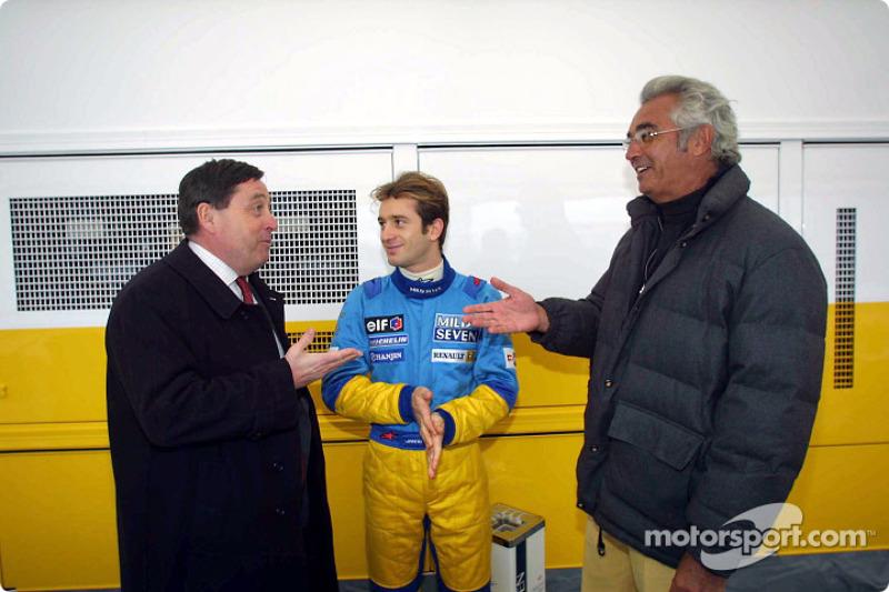 Patrick Faure, Jarno Trulli and Flavio Briatore