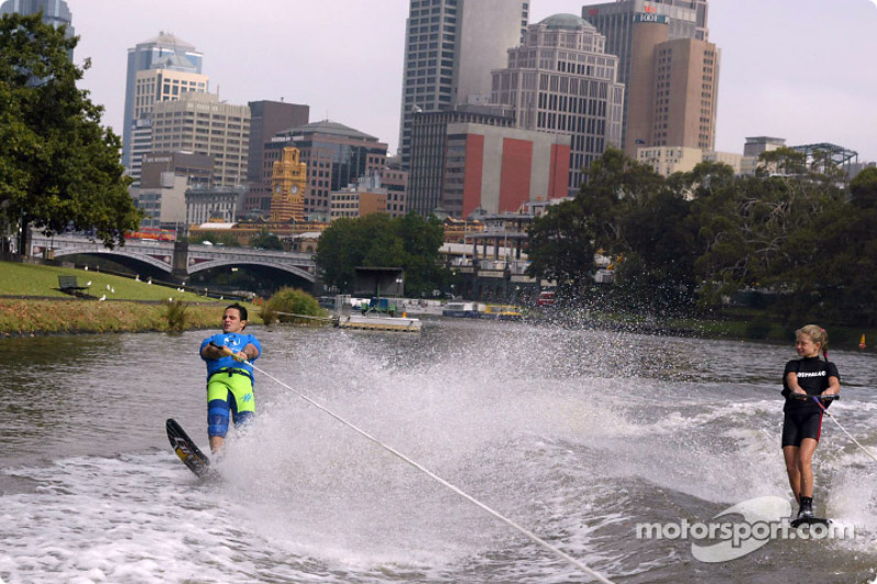Felipe Massa water skiing on Melbourne's Yarra River with Australian champion 12-years old Michale Brant