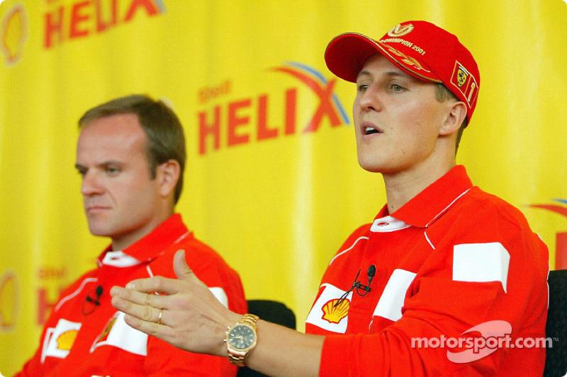 Shell press conference: Rubens Barrichello and Michael Schumacher