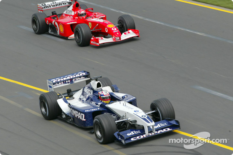 Juan Pablo Montoya, Williams; Michael Schumacher, Ferrari