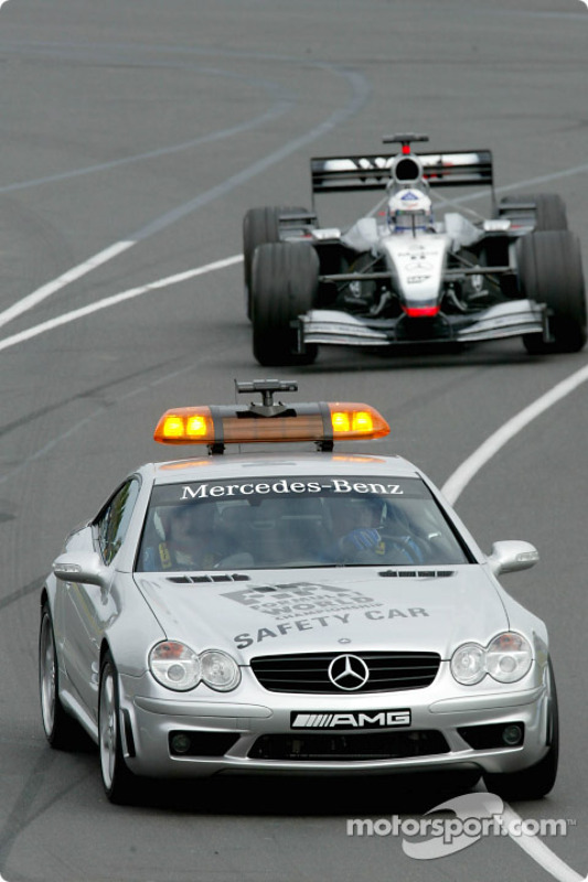 The safety car in front of David Coulthard