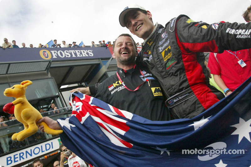 Mark Webber, Paul Stoddart and the boxing kangaroo celebrating