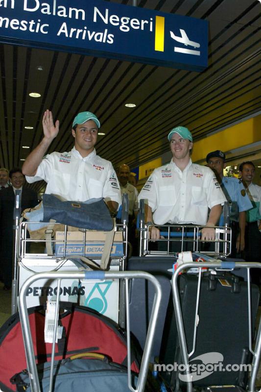 Felipe Massa et Nick Heidfeld à l'aéroport