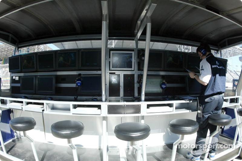 El muro de pits del Equipo Williams-BMW la mañana del domingo