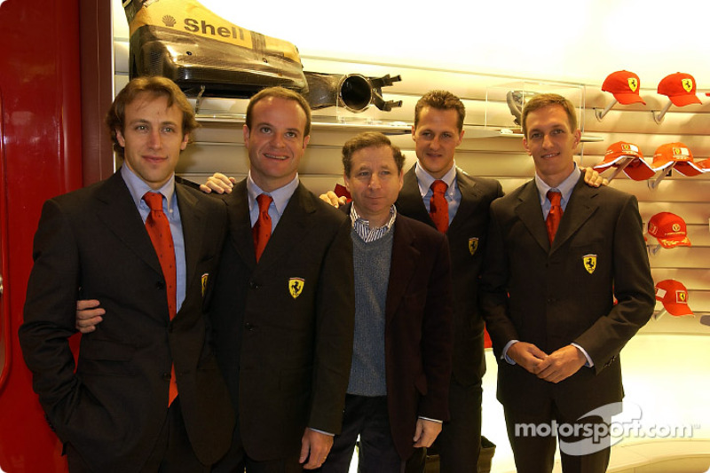 Official opening of Ferrari Store, Maranello: Luca Badoer, Rubens Barrichello, Jean Todt, Michael Schumacher and Luciano Burti