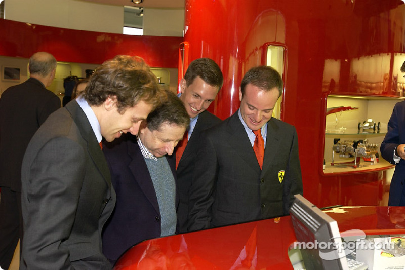Official opening of Ferrari Store, Maranello: Luca Badoer, Jean Todt, Luciano Burti and Rubens Barri