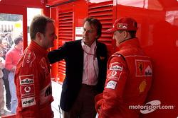 Rubens Barrichello, Luca di Montezemelo and Michael Schumacher