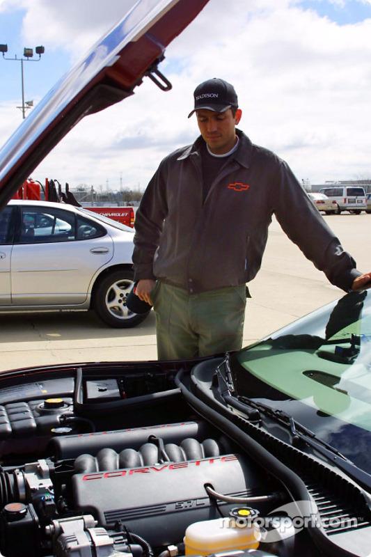 The Corvette's V8 engine produces 350 horsepower