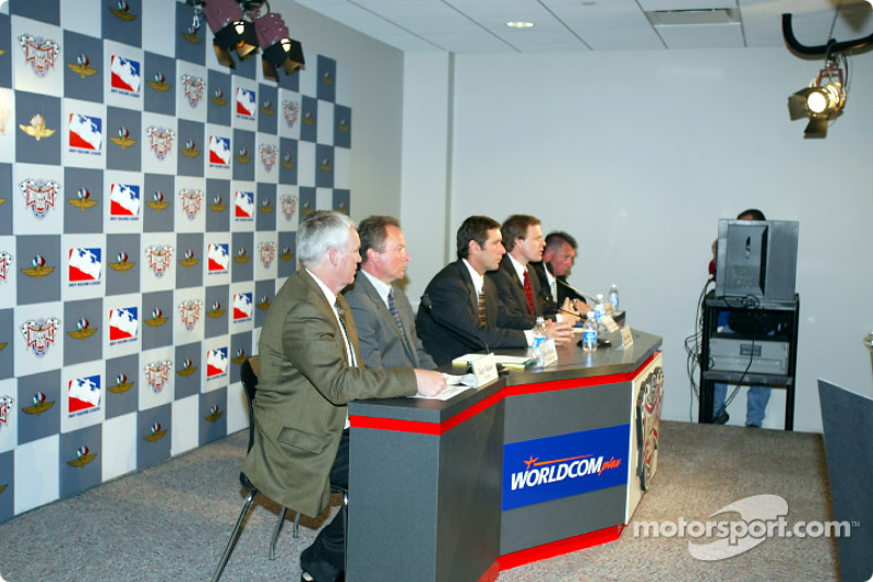 Gary Nelson-NASCAR, Brian Barnhart-VP of Operations IRL, Tony George-CEO Indianapolis Motor Speedway, Dr Dean Sicking-Director of Midwest Roadside Safety Facility at the Univ of NE-Lincoln, Kevin Forbes-IMS Dir of Engineering and Construction