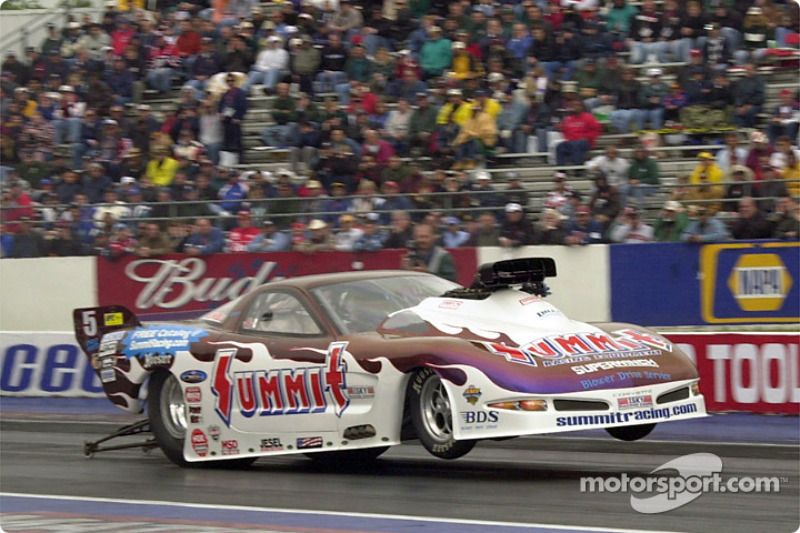 Fred Hahn does a wheelie in pro mod