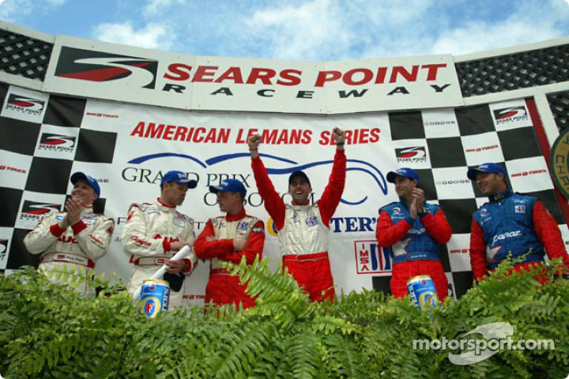 The podium: Johnny Herbert, Tom Kristensen, Jan Magnussen, David Brabham, Bryan Herta and Bill Auberlen