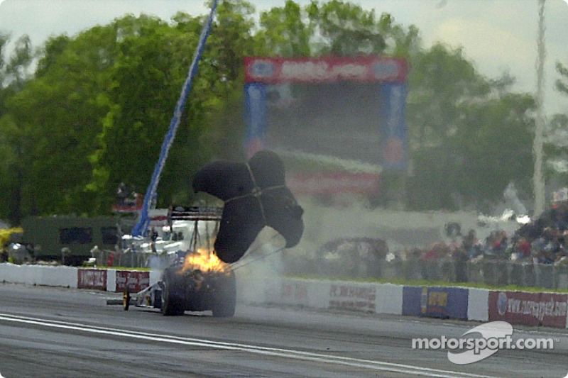 ...and the added strain of dragging the chute blows the engine