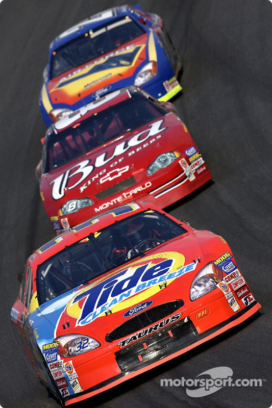 Ricky Craven battles with Dale Earnhardt Jr. and Elliott Sadler