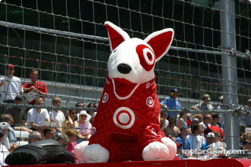 The Target dog sitting in the Chip Ganassi Racing pit area