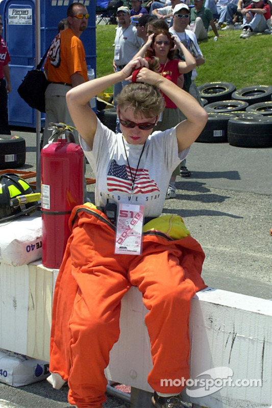 A member of the safety crew getting ready