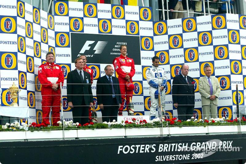 The podium: race winner Michael Schumacher with Rubens Barrichello and Juan Pablo Montoya