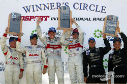 The podium: race winners Tom Kristensen and Rinaldo Capello, with Johnny Herbert, Stefan Johansson,