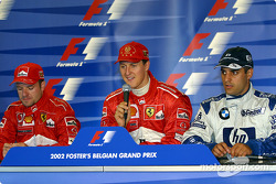 Press conference: race winner Michael Schumacher with Rubens Barrichello and Juan Pablo Montoya