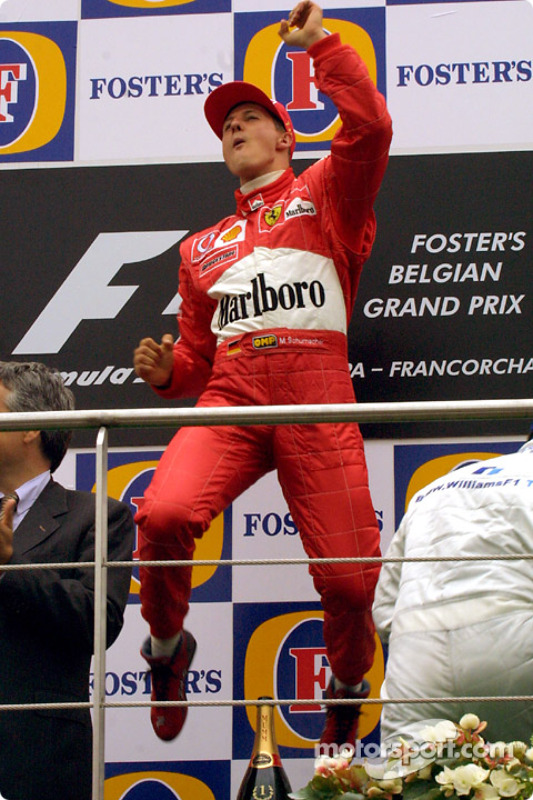 The podium: race winner Michael Schumacher