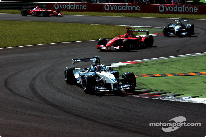 Warmup lap: Juan Pablo Montoya in front of Michael Schumacher