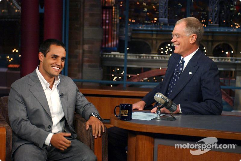 Juan Pablo Montoya making an appearance on the CBS Late Show with David Letterman