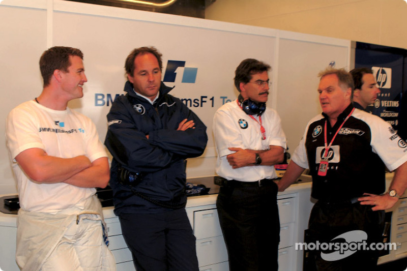 Ralf Schumacher, Gerhard Berger, Mario Theissen and Patrick Head