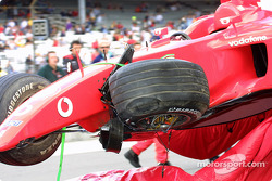 Rubens Barrichello's damaged Ferrari
