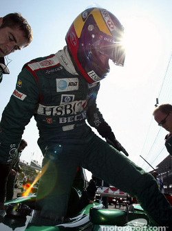 Pedro de la Rosa on the starting grid
