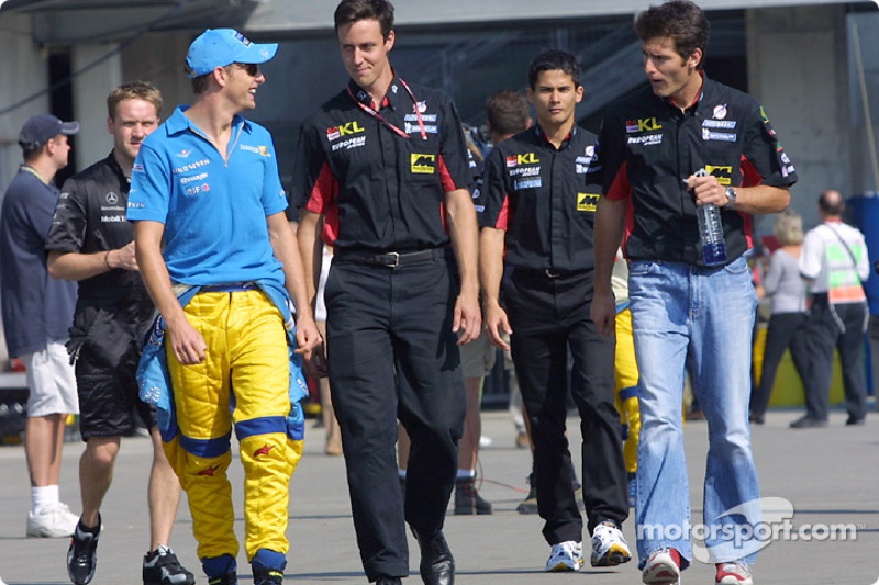 Jenson Button, Alex Yoong and Mark Webber