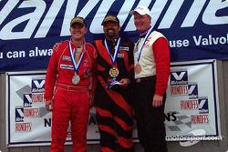 The podium: race winner Thomas Oates with Jordan Sandridge and Mark Sandridge