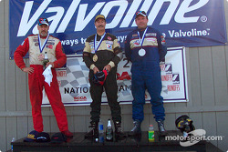 The podium: race winner Kent Prather with Mark Dennis and Karl McColl