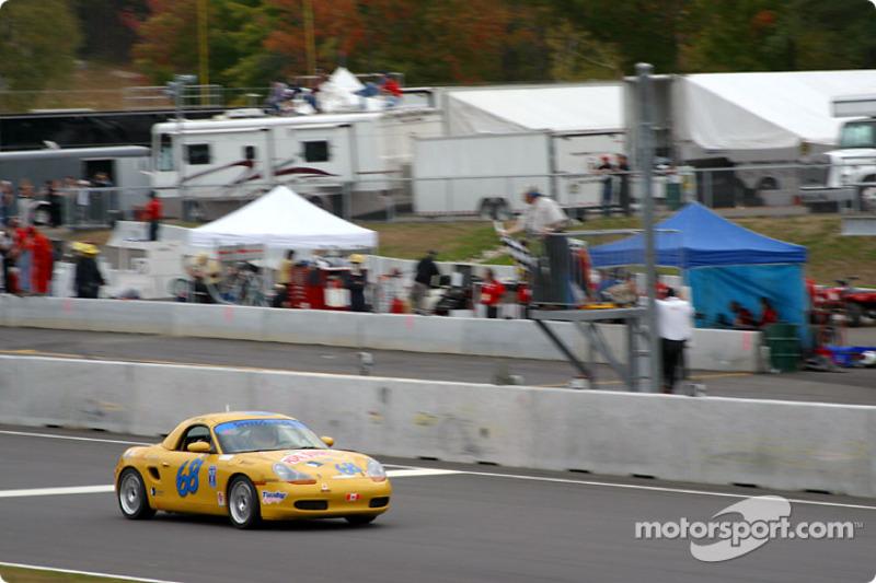 SpeedSource Porsche Boxster takes the checkered flag