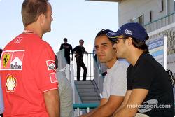 Juan Pablo Montoya, Felipe Massa y Rubens Barrichello
