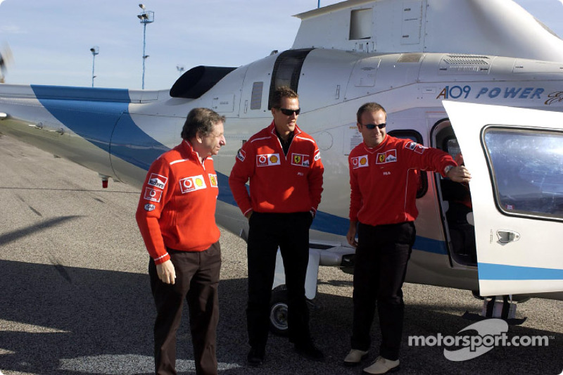 Jean Todt, Michael Schumacher y Rubens Barrichello
