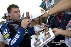 Ryan Newman signs autographs for the fans after taking his 6th pole position of the season